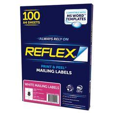 Reflex Mailing Labels 8 Per Sheet 100 Pack White A4