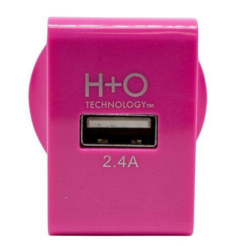 H+O USB Single 2.4A Wall Charger Pink