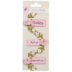 Little Birdie Embellishment Say It With Rose Blush 3 Piece