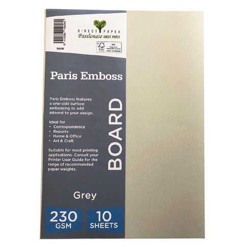 Direct Paper Paris Emboss 230gsm A4 10 Pack Grey