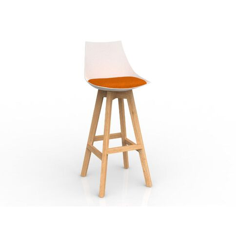 Luna White Sunset Orange Oak Base Barstool