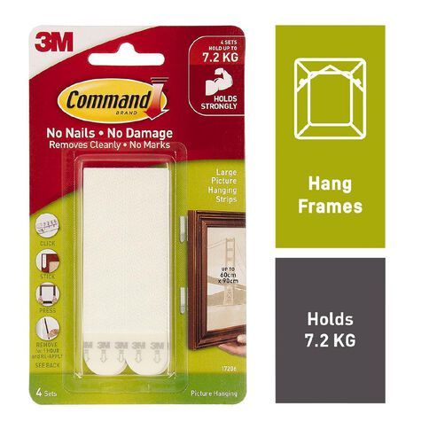 Command Picture Hanging Strips 4 Pack White Large