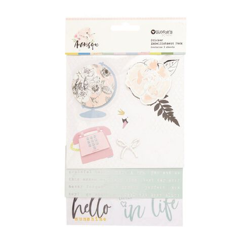 Rosie's Studio Arabesque Layered Sticker Pack 3 Sheets