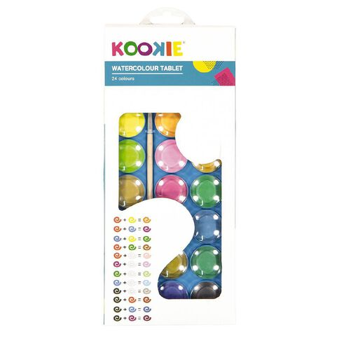 Kookie Watercolour Tablet 24 Pack Multi-Coloured