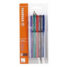 Stabilo Liner Retractable Ballpoint Pen  Card 5 Assorted Medium