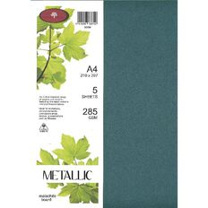 Direct Paper Metallic Board 285gsm 5 Pack Malachite A4