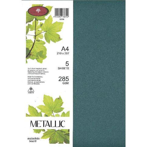 Direct Paper Metallic Board 285gsm 5 Pack Malachite A4