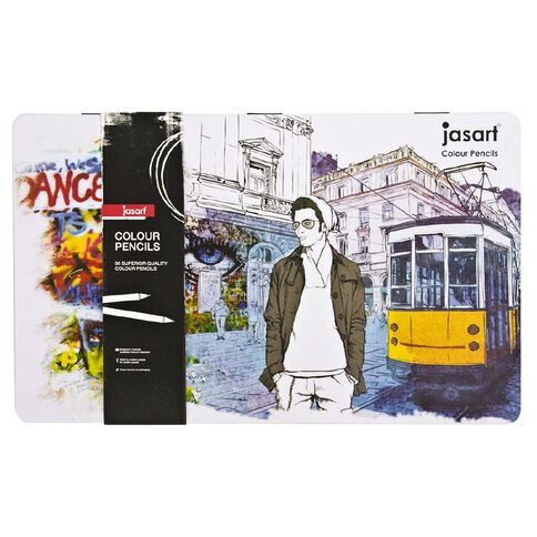 Jasart Coloured Pencil Tin Set 36 Pack