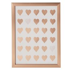Uniti Rose Crush Framed Art Heart Rose Gold 30 x 40 x 20