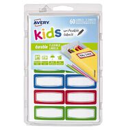 Avery Kids Durable Label Green Red and Blue Border 44mm x 19mm 5 Sheets
