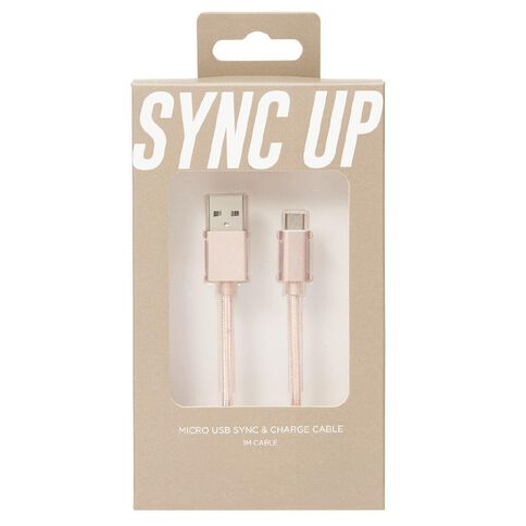 Micro USB Cable Braided 1m Pastel Geo Pink