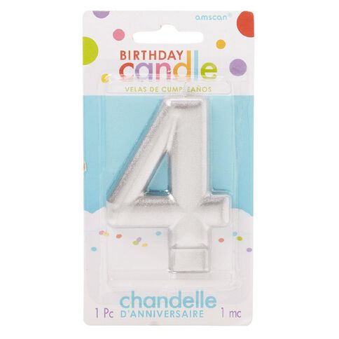 Candle Metallic Numeral #4 Silver