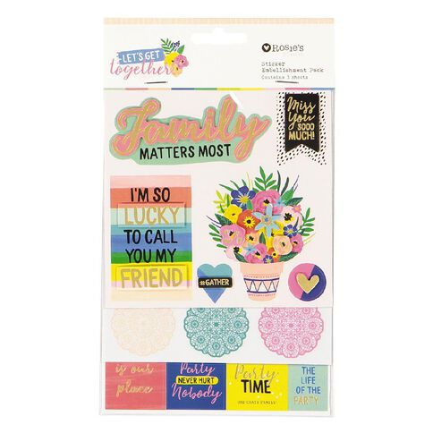 Rosie's Studio Lets Get Together Layered Sticker Pack 3 Sheets