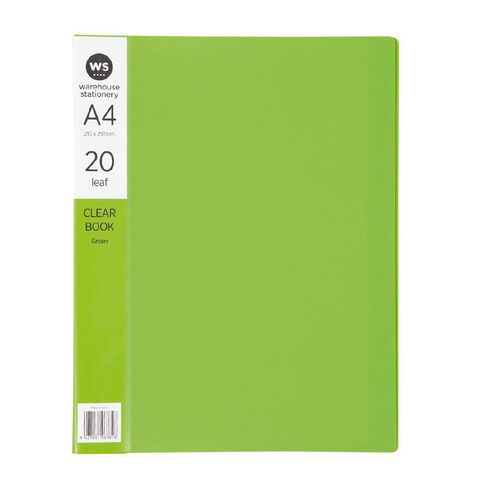WS Clear Book 20 Leaf Green A4
