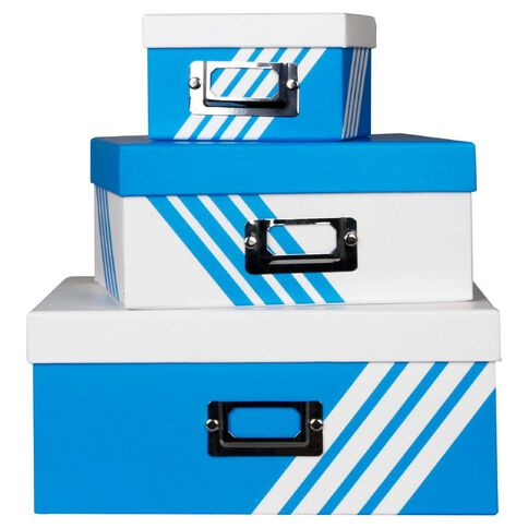 Paper Lane Stackable Storage Boxes 3 Pack Blue
