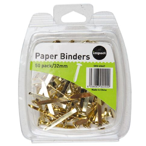 WS Paperbinders 32mm 50 Pack Brass