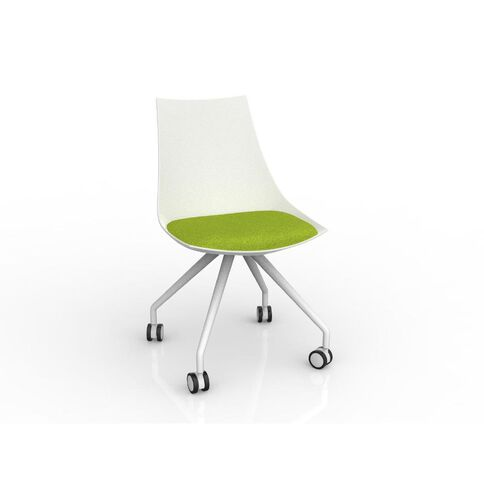 Luna White Avacado Green Chair