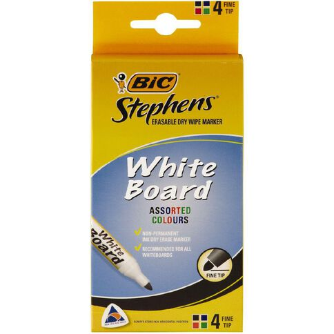 Stephens Fine Whiteboard Marker Assorted 4 Pack Assorted