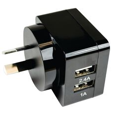 H+O USB Dual 3.4A Wall Charger Black