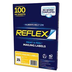 Reflex Mailing Labels 21 Per Sheet 100 Pack White A4