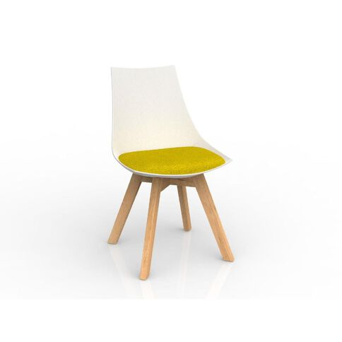 Luna White Bumblebee Yellow Oak Base Chair