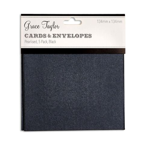Grace Taylor Cards & Envelopes 134 x 134mm 250gsm 5 Pack Pearl Charcoal
