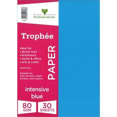 Trophee Paper 80gsm 30 Pack Intensive Blue A4