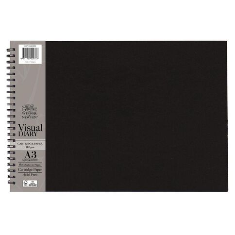 Winsor & Newton Visual Diary Landscape 110gsm A3 60 Sheets Black