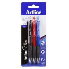 Artline Flow Retractable Pen Assorted 3 Pack