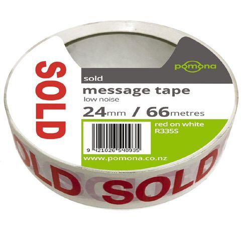 Pomona Sold Tape Red/White 25mm x 66m