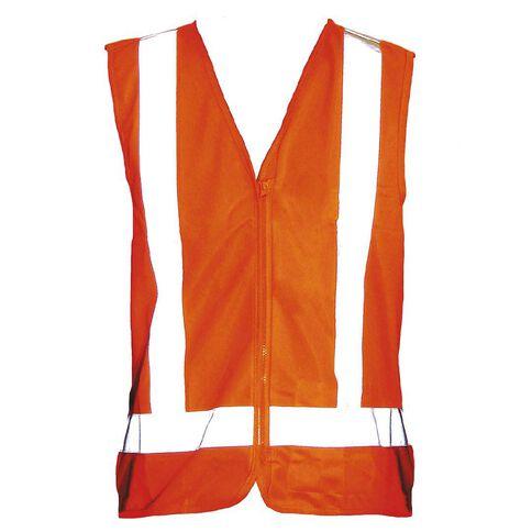 Orange Hi-Viz Day Night Safety Vest Front Zip Size Orange Large