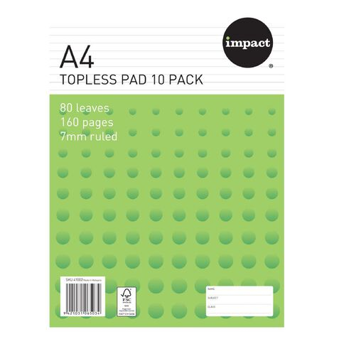 Impact Pad Topless 55gsm 7mm 80 Leaf 10 Pack White