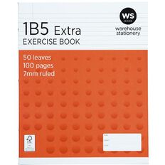 WS Exercise Book 1B5 7mm Ruled 50 Leaf Red