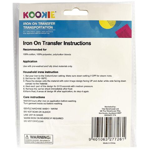 Kookie Iron on Transfer Transport