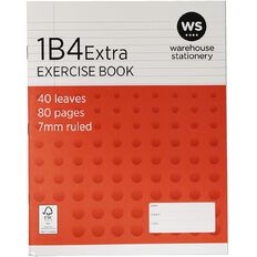 WS Exercise Book 1B4 Extra 7mm Ruled 40 Leaf Red
