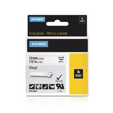 Dymo Industrial Vinyl Labels 12mm Black/White
