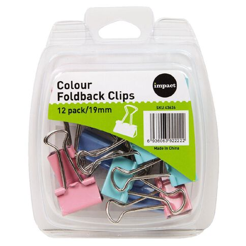 Impact Foldback Clips 19mm 12 Pack Colour