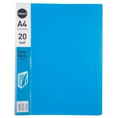 WS Clear Book 20 Leaf Blue A4