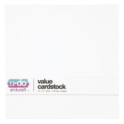 U-Do Value Cardstock 300gsm 10 Pack White 12in x 12in