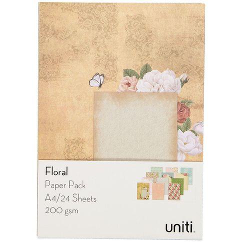 Uniti Designer Paper Pack A4 24 Sheet Floral