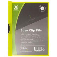 Office Supply Co Easy Clip File 30 Capacity Green A4