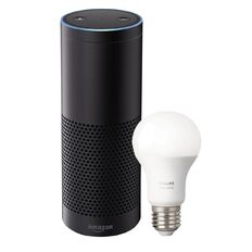 Amazon Echo Plus Smart Speaker Black + Bonus Philips E27 Hue 9.5W Bulb
