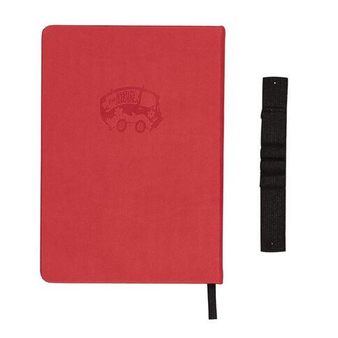 Scooby Doo PU Notebook Debossed Wide Elastic With Loops Red A5