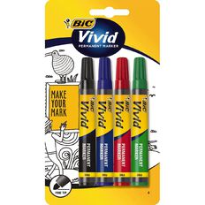 Bic Vivid Permanent Marker Fine Assorted 4 Pack