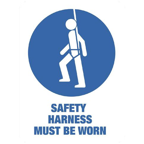 WS Safety Harness Must be Worn Sign Large 600mm x 450mm