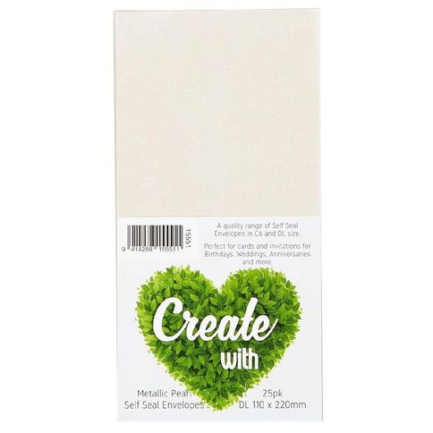 Create With DL Envelope 25 Pack Metallic Pearl