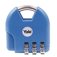 Yale Novelty Padlock Active Style 3 Digit Combination Blue Light
