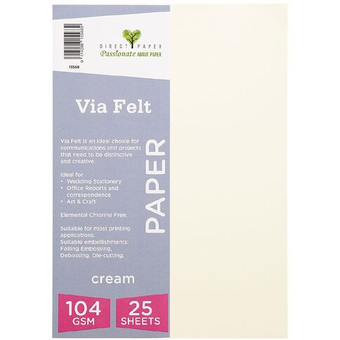 Direct Paper Via Felt 104gsm 25 Pack Cream A4