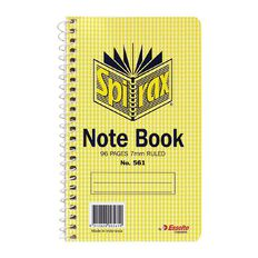 Spirax Notebook Spiral No.561 96pg 7mm Ruled 147 x 87mm Yellow