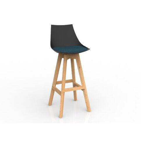 Luna Black Deep Blue Oak Base Barstool Blue